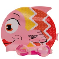 KIT SPEEDO FISH COMBO JUNIOR ROSA/LENTE TRANSPARENTE
