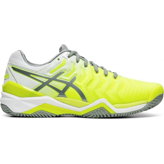 TÊNIS ASICS GEL RESOLUTION 7 CLAY - SAFETY YELLOW/STONE GREY
