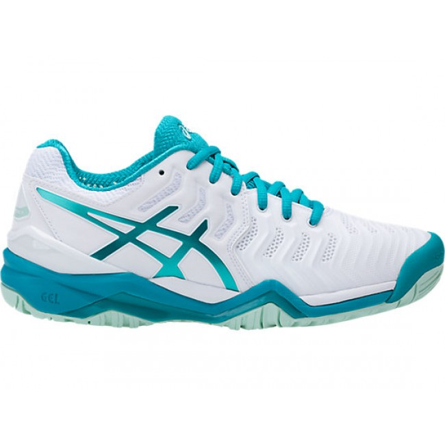 f9b2e4766a816 TÊNIS ASICS GEL RESOLUTION 7 - WHITE ARCTIC AQUA GLACIER SEA