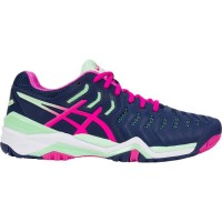 TÊNIS ASICS GEL RESOLUTION 7 - INDIGO BLUE/PINK GLOW/PARADISE GREEN